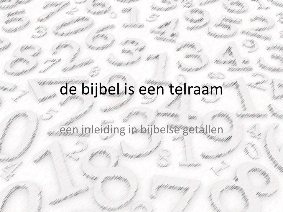 aantallen De 10 geboden: -7 beginnen met 'niet' (lo) in Hebreeuws -het woord 'dag' komt 7 keer voor -voorzetsel 'in' komt 7 keer voor -voorzetsel 'tot' komt 14 keer voor -Heere en God samen 14 keer -7 verschillende voornaamwoorden (49 totaal) -… 62