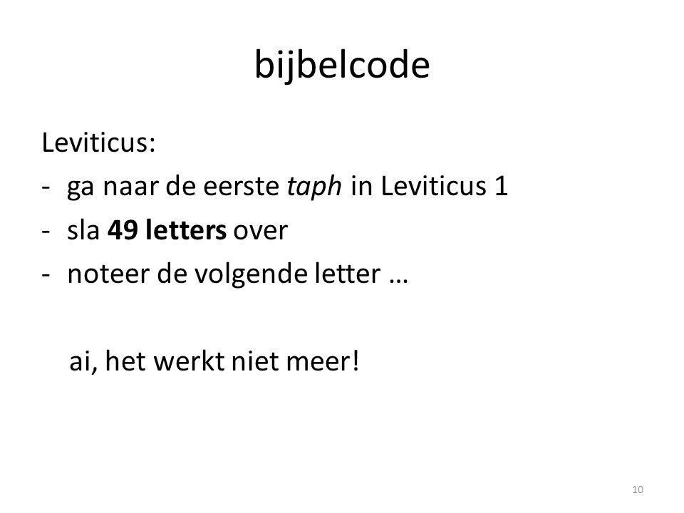 bijbelcode Leviticus: -ga naar de eerste taph in Leviticus 1 -sla 49 letters over -noteer de volgende letter … ai, het werkt niet meer! 10