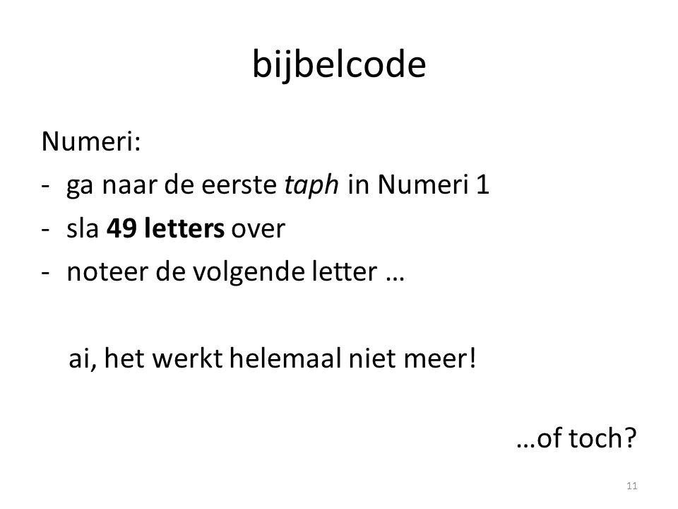 bijbelcode Numeri: -ga naar de eerste taph in Numeri 1 -sla 49 letters over -noteer de volgende letter … ai, het werkt helemaal niet meer.