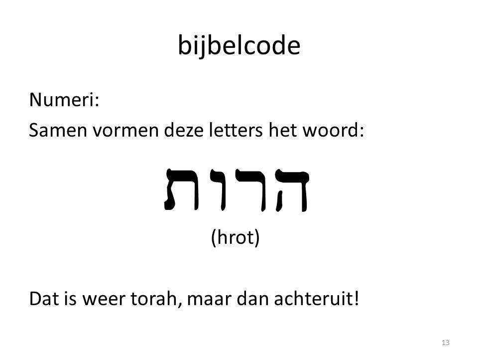 bijbelcode Numeri: Samen vormen deze letters het woord: (hrot) Dat is weer torah, maar dan achteruit! 13