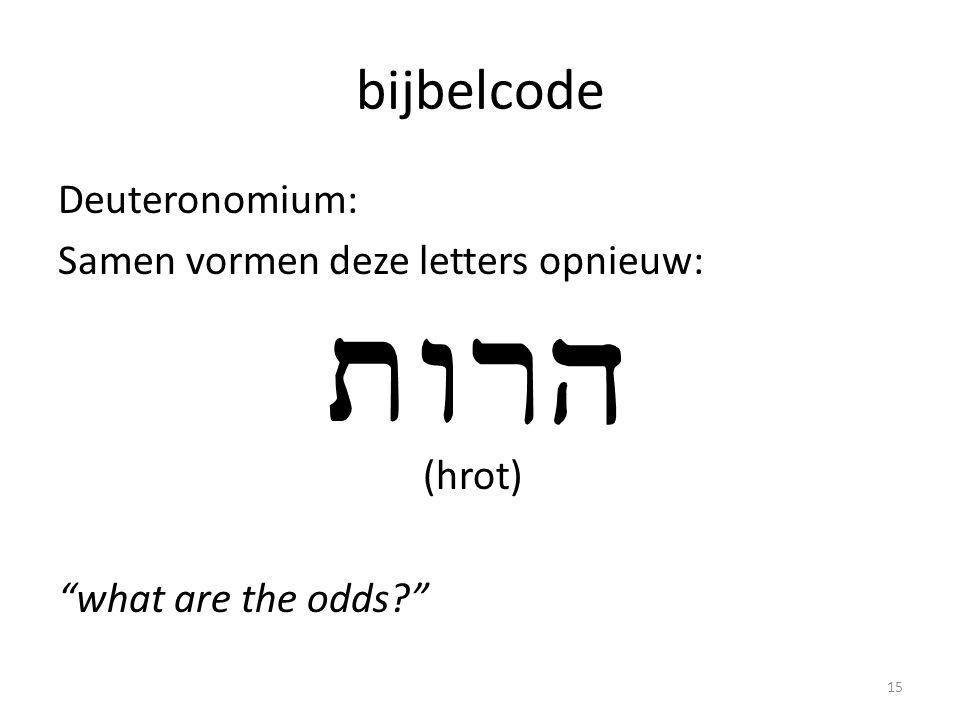 """bijbelcode Deuteronomium: Samen vormen deze letters opnieuw: (hrot) """"what are the odds?"""" 15"""