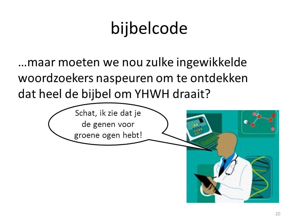 bijbelcode …maar moeten we nou zulke ingewikkelde woordzoekers naspeuren om te ontdekken dat heel de bijbel om YHWH draait.