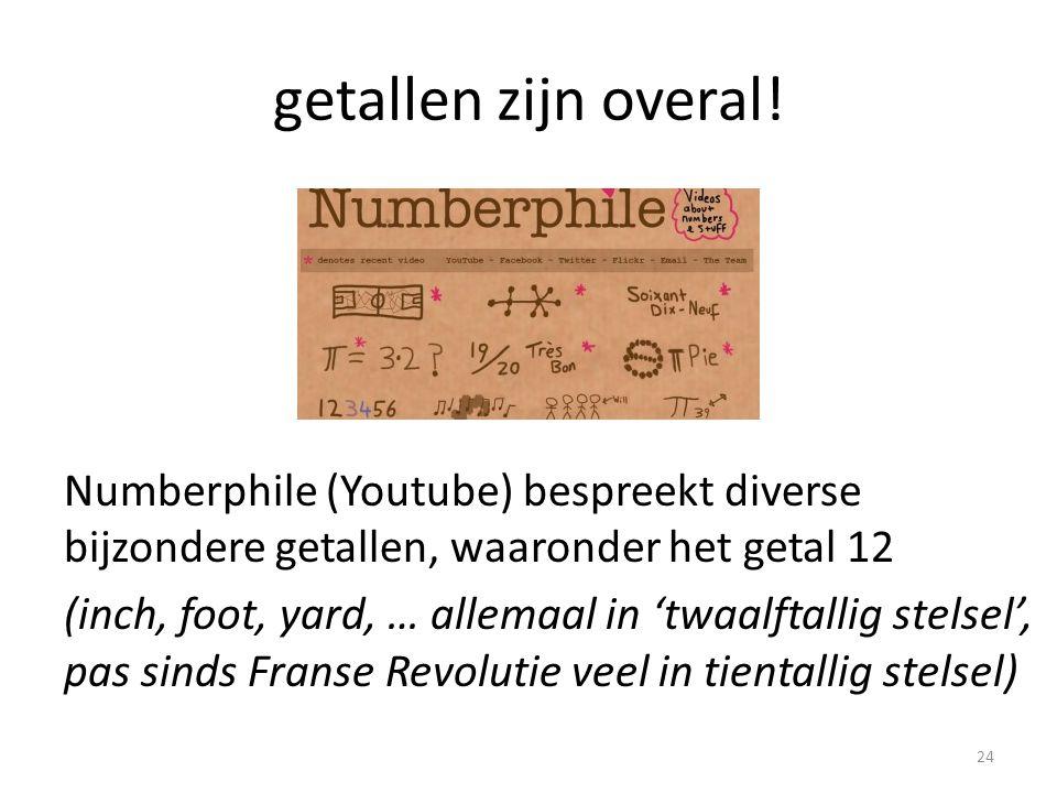 getallen zijn overal! Numberphile (Youtube) bespreekt diverse bijzondere getallen, waaronder het getal 12 (inch, foot, yard, … allemaal in 'twaalftall