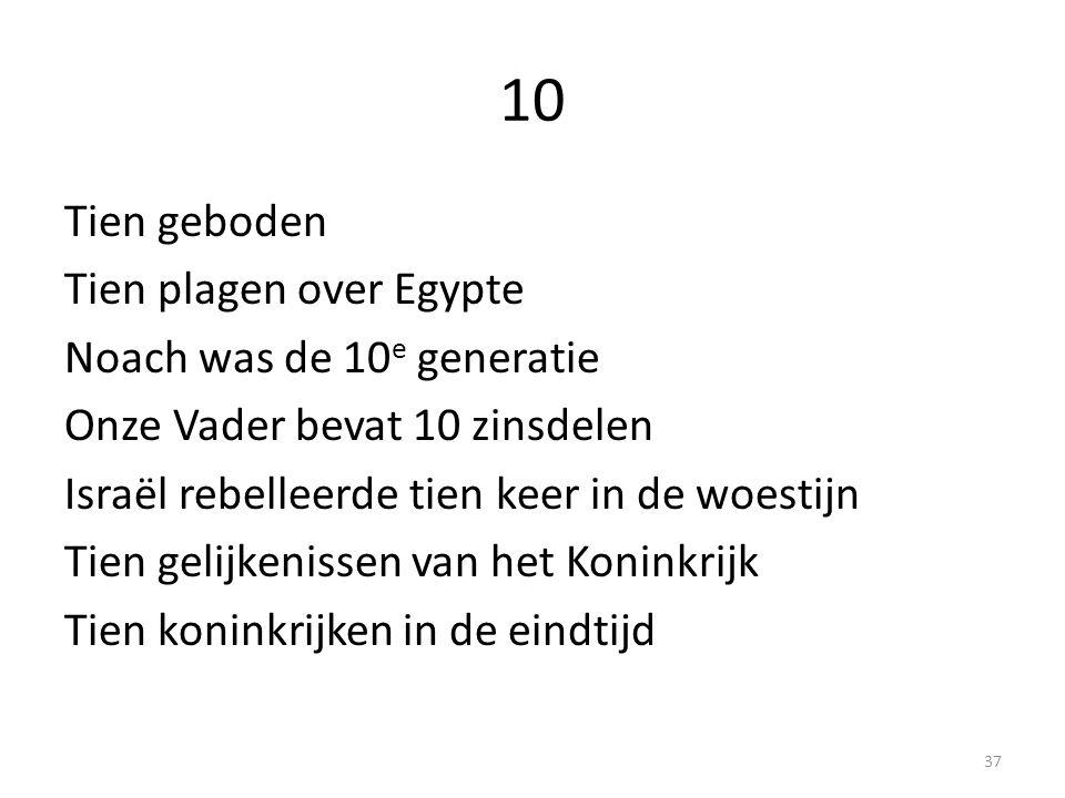 10 Tien geboden Tien plagen over Egypte Noach was de 10 e generatie Onze Vader bevat 10 zinsdelen Israël rebelleerde tien keer in de woestijn Tien gelijkenissen van het Koninkrijk Tien koninkrijken in de eindtijd 37