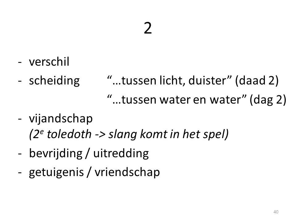 2 -verschil -scheiding …tussen licht, duister (daad 2) …tussen water en water (dag 2) -vijandschap (2 e toledoth -> slang komt in het spel) -bevrijding / uitredding -getuigenis / vriendschap 40