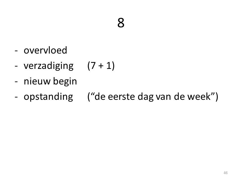 """8 -overvloed -verzadiging(7 + 1) -nieuw begin -opstanding(""""de eerste dag van de week"""") 46"""