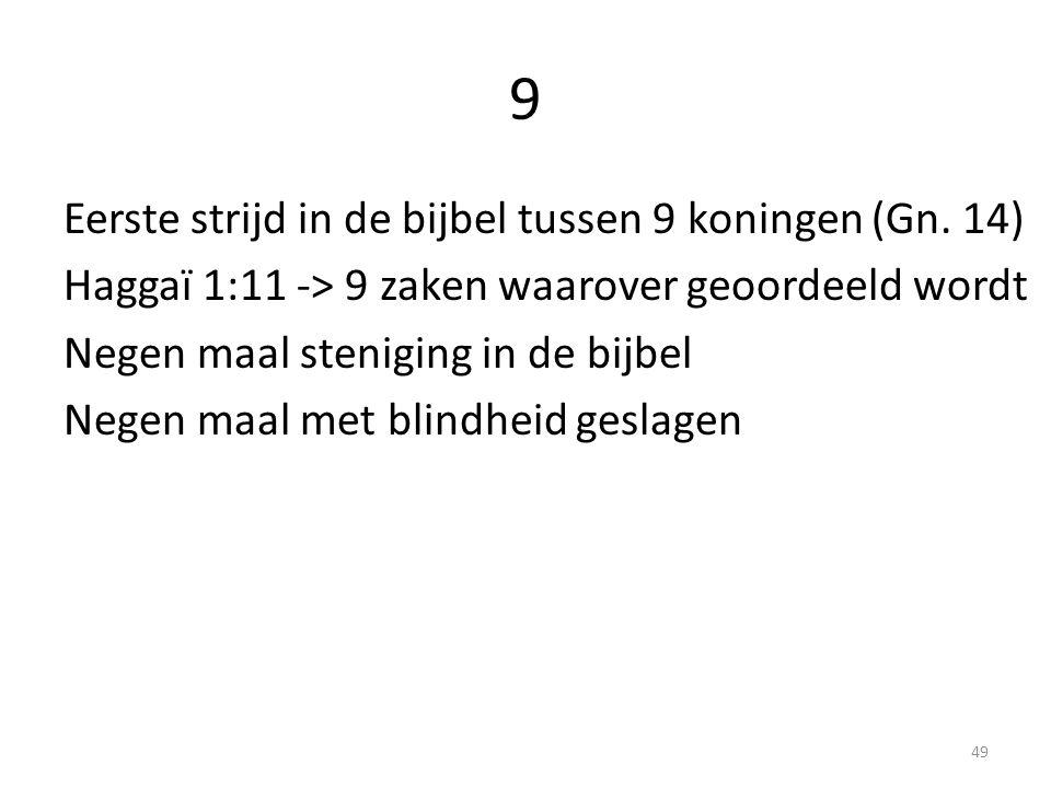 9 Eerste strijd in de bijbel tussen 9 koningen (Gn. 14) Haggaï 1:11 -> 9 zaken waarover geoordeeld wordt Negen maal steniging in de bijbel Negen maal