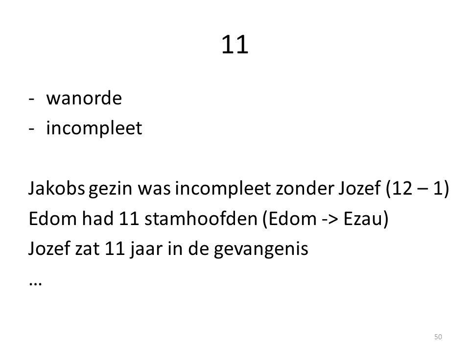11 -wanorde -incompleet Jakobs gezin was incompleet zonder Jozef (12 – 1) Edom had 11 stamhoofden (Edom -> Ezau) Jozef zat 11 jaar in de gevangenis … 50