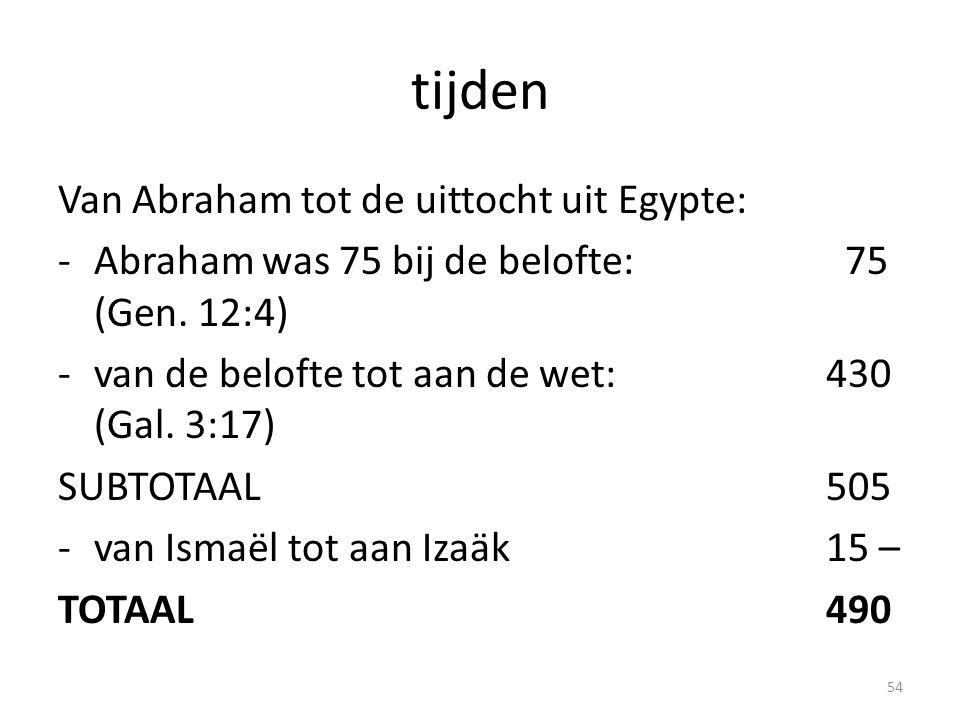 tijden Van Abraham tot de uittocht uit Egypte: -Abraham was 75 bij de belofte: 75 (Gen. 12:4) -van de belofte tot aan de wet:430 (Gal. 3:17) SUBTOTAAL