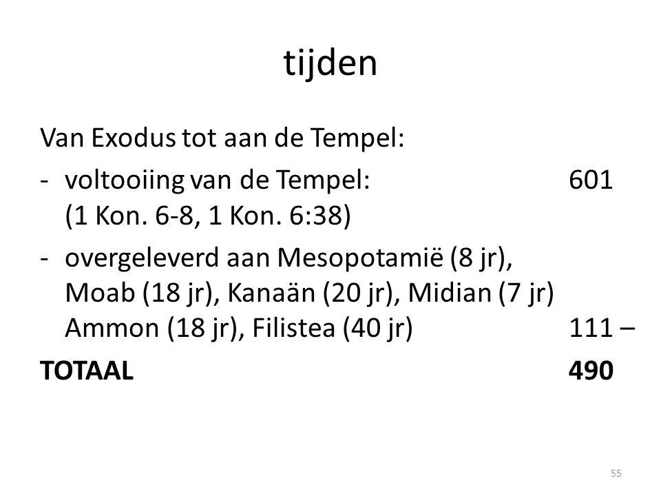 tijden Van Exodus tot aan de Tempel: -voltooiing van de Tempel:601 (1 Kon. 6-8, 1 Kon. 6:38) -overgeleverd aan Mesopotamië (8 jr), Moab (18 jr), Kanaä