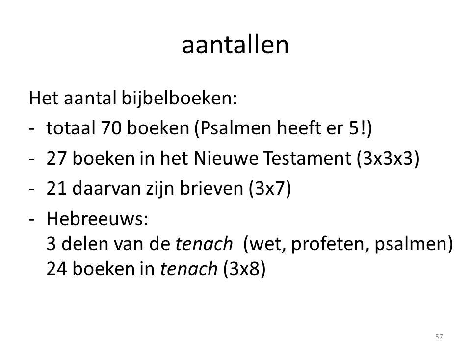 aantallen Het aantal bijbelboeken: -totaal 70 boeken (Psalmen heeft er 5!) -27 boeken in het Nieuwe Testament (3x3x3) -21 daarvan zijn brieven (3x7) -Hebreeuws: 3 delen van de tenach (wet, profeten, psalmen) 24 boeken in tenach (3x8) 57