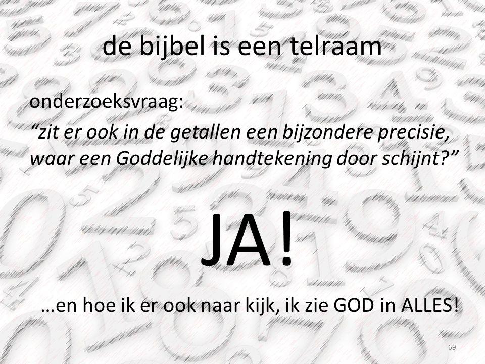 """de bijbel is een telraam onderzoeksvraag: """"zit er ook in de getallen een bijzondere precisie, waar een Goddelijke handtekening door schijnt?"""" JA! …en"""