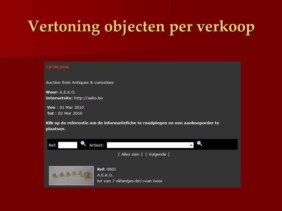 Vertoning objecten per verkoop