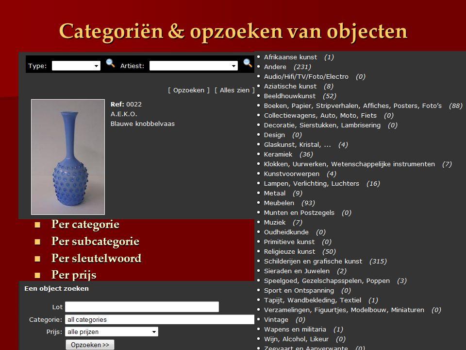 Categoriën & opzoeken van objecten Per categorie Per categorie Per subcategorie Per subcategorie Per sleutelwoord Per sleutelwoord Per prijs Per prijs