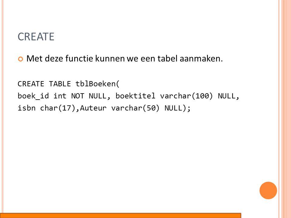 CREATE Met deze functie kunnen we een tabel aanmaken.
