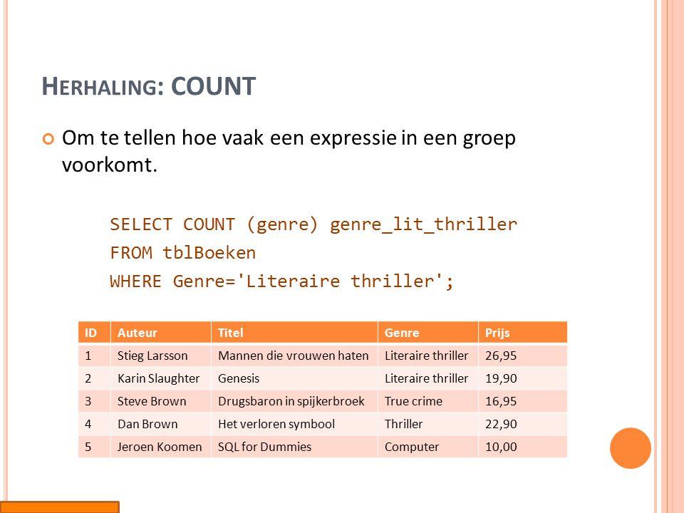 H ERHALING : COUNT (*) Om te tellen hoeveel rijen er zich in de groep bevinden.