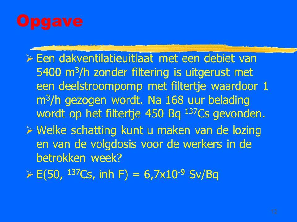 12 Opgave  Een dakventilatieuitlaat met een debiet van 5400 m 3 /h zonder filtering is uitgerust met een deelstroompomp met filtertje waardoor 1 m 3