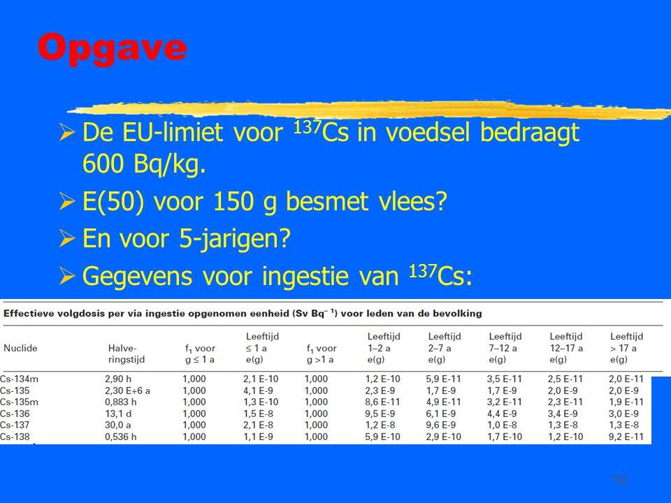 14 Opgave  De EU-limiet voor 137 Cs in voedsel bedraagt 600 Bq/kg.  E(50) voor 150 g besmet vlees?  En voor 5-jarigen?  Gegevens voor ingestie van