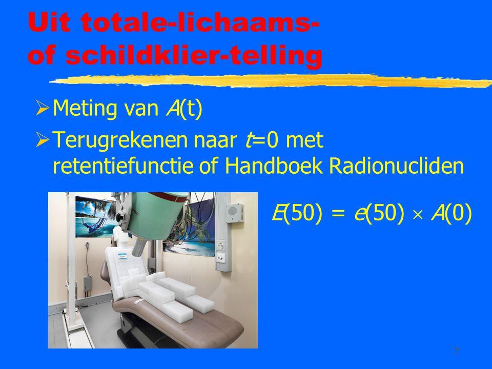 7 Uit totale-lichaams- of schildklier-telling  Meting van A(t)  Terugrekenen naar t=0 met retentiefunctie of Handboek Radionucliden E(50) = e(50) 