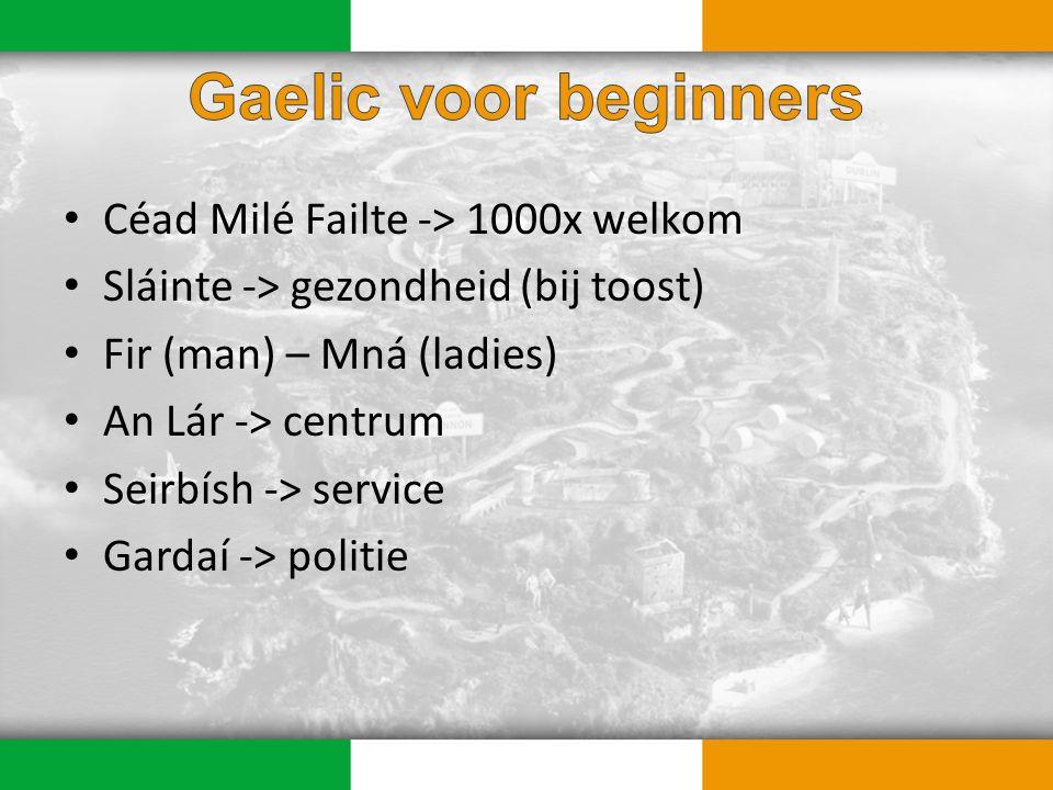 Céad Milé Failte -> 1000x welkom Sláinte -> gezondheid (bij toost) Fir (man) – Mná (ladies) An Lár -> centrum Seirbísh -> service Gardaí -> politie