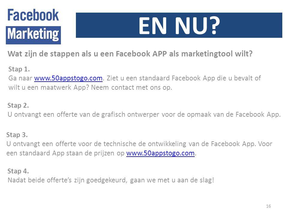 EN NU. 16 Wat zijn de stappen als u een Facebook APP als marketingtool wilt.