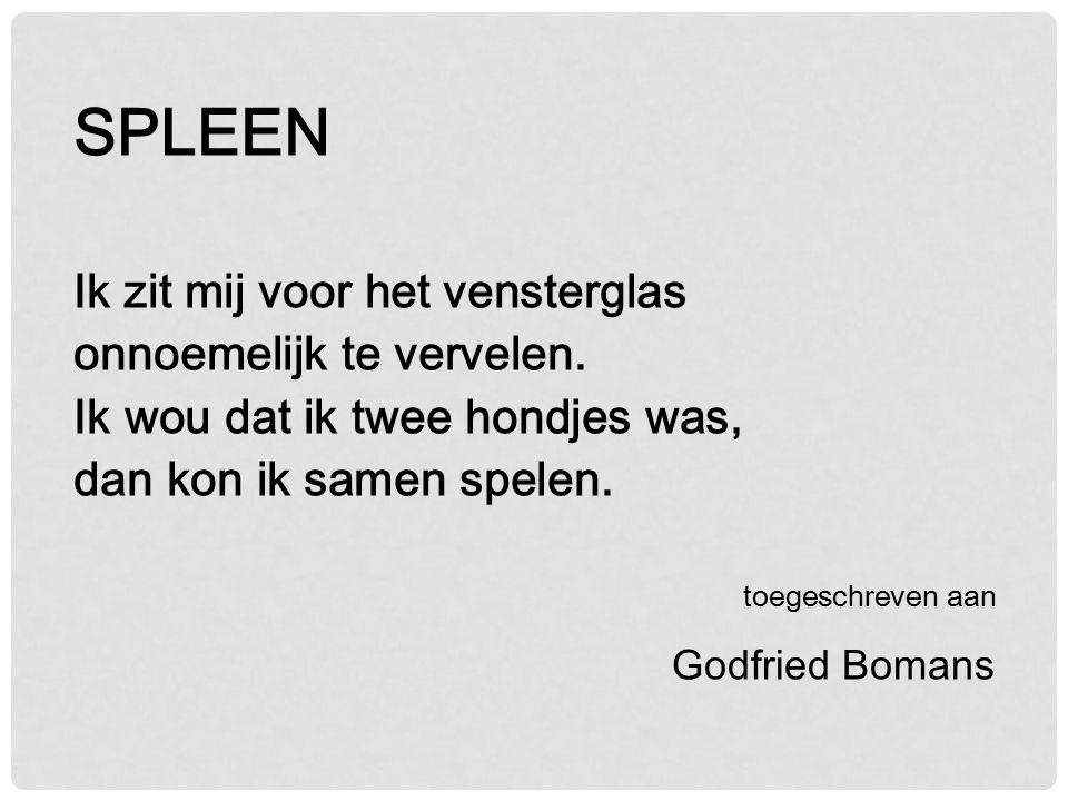 Brede gedichten kan ik niet tegen Meestal zijn ze strontvervelend Hun dichters blijven onbegrepen En mogen elkaar dan prijzen geven J.A. Deelder