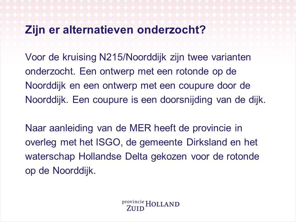 Zijn er alternatieven onderzocht.Voor de kruising N215/Noorddijk zijn twee varianten onderzocht.