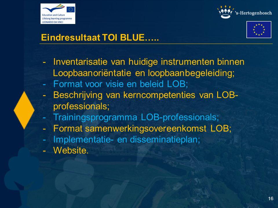 16 Eindresultaat TOI BLUE….. - -Inventarisatie van huidige instrumenten binnen Loopbaanoriëntatie en loopbaanbegeleiding; - -Format voor visie en bele