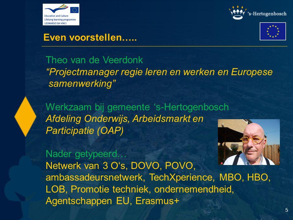"""5 Even voorstellen….. Theo van de Veerdonk """"Projectmanager regie leren en werken en Europese samenwerking"""" Werkzaam bij gemeente 's-Hertogenbosch Afde"""