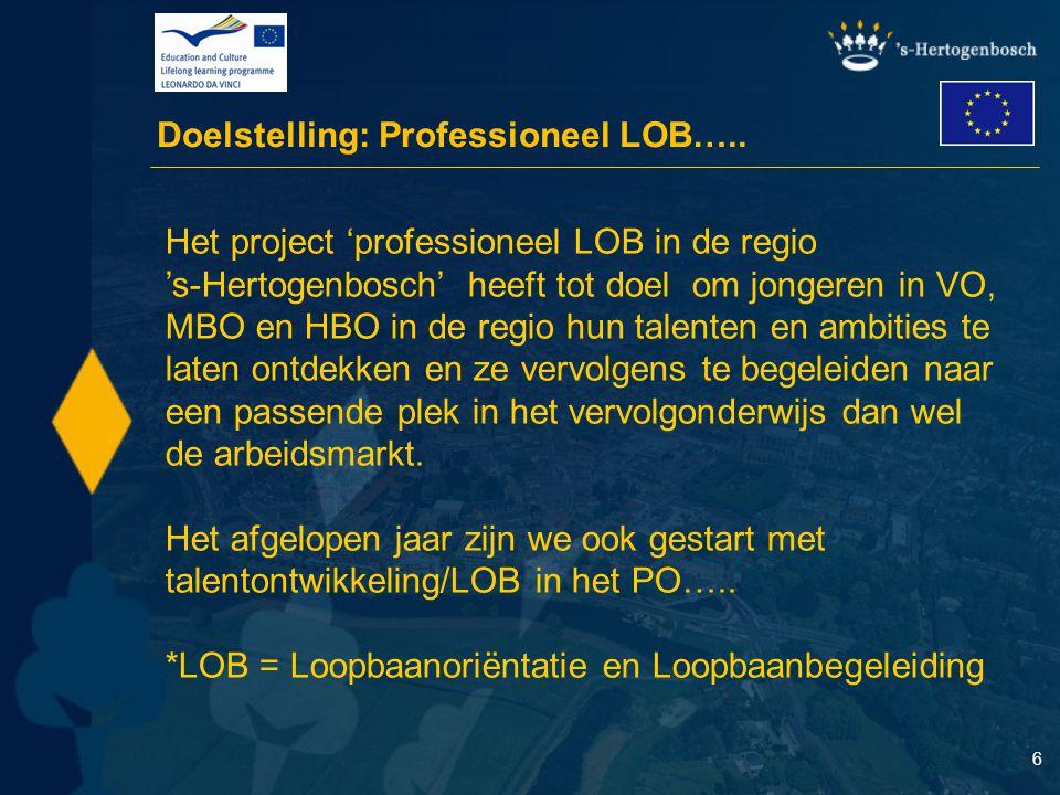 6 Doelstelling: Professioneel LOB….. Het project 'professioneel LOB in de regio 's-Hertogenbosch' heeft tot doel om jongeren in VO, MBO en HBO in de r
