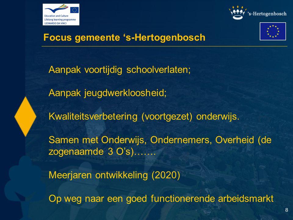 8 Focus gemeente 's-Hertogenbosch Aanpak voortijdig schoolverlaten; Aanpak jeugdwerkloosheid; Kwaliteitsverbetering (voortgezet) onderwijs. Samen met