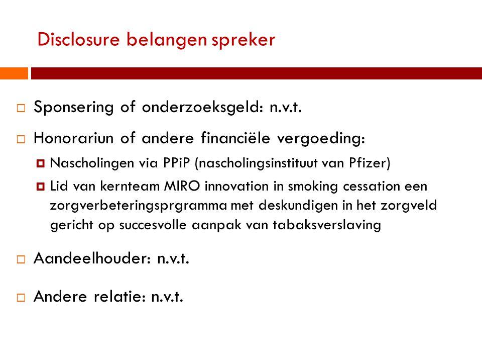 Disclosure belangen spreker  Sponsering of onderzoeksgeld: n.v.t.