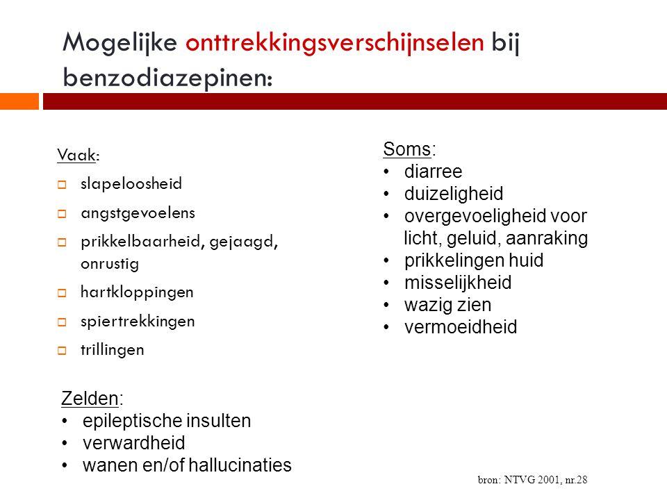 Mogelijke onttrekkingsverschijnselen bij benzodiazepinen: Vaak:  slapeloosheid  angstgevoelens  prikkelbaarheid, gejaagd, onrustig  hartkloppingen  spiertrekkingen  trillingen Soms: diarree duizeligheid overgevoeligheid voor licht, geluid, aanraking prikkelingen huid misselijkheid wazig zien vermoeidheid Zelden: epileptische insulten verwardheid wanen en/of hallucinaties bron: NTVG 2001, nr.28