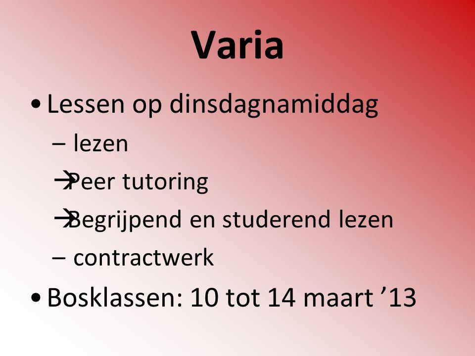 Varia Lessen op dinsdagnamiddag – lezen  Peer tutoring  Begrijpend en studerend lezen – contractwerk Bosklassen: 10 tot 14 maart '13