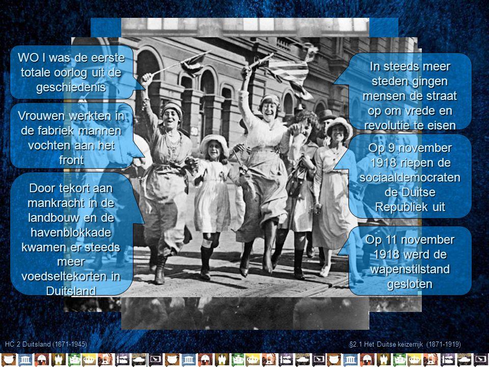 HC 2 Duitsland (1871-1945) §2.1 Het Duitse keizerrijk (1871-1919) Eerste Wereldoorlog 1914-1918 WO I was de eerste totale oorlog uit de geschiedenis V