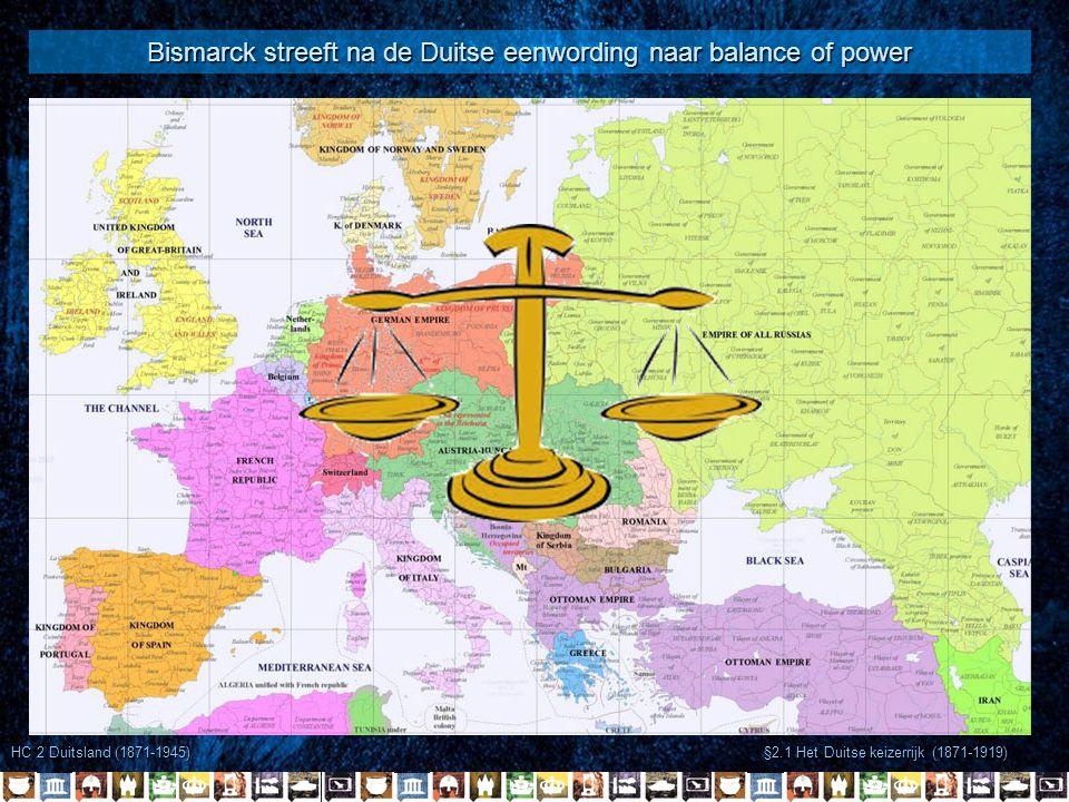 §2.1 Het Duitse keizerrijk (1871-1919) In 1888 werd Wilhelm II keizer van Duitsland In 1890 ontslaat hij Bismarck Ein Platz unter die Sonne Willem II gaat Weltpolitik voeren -Streven naar een imperium Engeland & Frankrijk boos -Agressieve politiek Europa Rusland & Frankrijk bondgenootschap (1893) Machtsevenwicht verstoord HC 2 Duitsland (1871-1945) Extreem nationalisme -Drang nach dem Osten voor Lebensraum -Opbouw groot leger Engeland werkt steeds meer samen met Rusland en Frankrijk Duitsland sluit bondgenootschap met Oostenrijk-Hongarije