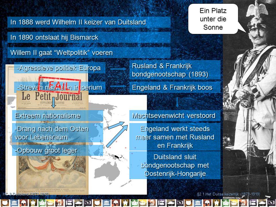 §2.1 Het Duitse keizerrijk (1871-1919) -Duitsland -Oostenrijk-Hongarije -Frankrijk -Rusland -Engeland Blokvorming Wapenwedloop Nationalisme Bondgenootschappen HC 2 Duitsland (1871-1945) Einkreisung Sociaal-Darwinisme Urgentie ivm Rusland Oorzaken Aanleiding (of directe oorzaak)