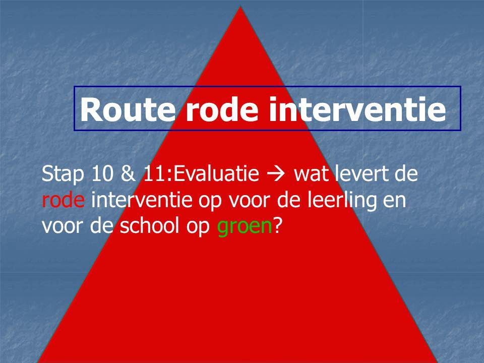 Route rode interventie Stap 10 & 11:Evaluatie  wat levert de rode interventie op voor de leerling en voor de school op groen