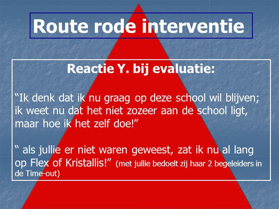 Route rode interventie Reactie Y.