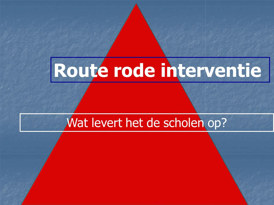 Route rode interventie Wat levert het de scholen op?