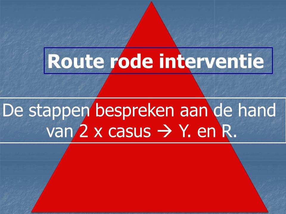 Route rode interventie De stappen bespreken aan de hand van 2 x casus  Y. en R.