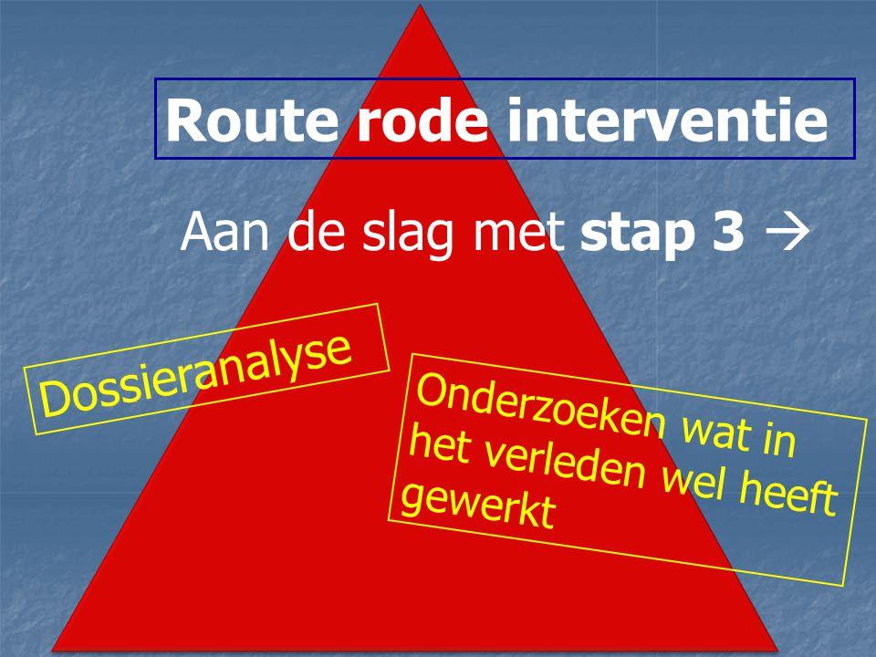 Route rode interventie Aan de slag met stap 3  Dossieranalyse Onderzoeken wat in het verleden wel heeft gewerkt