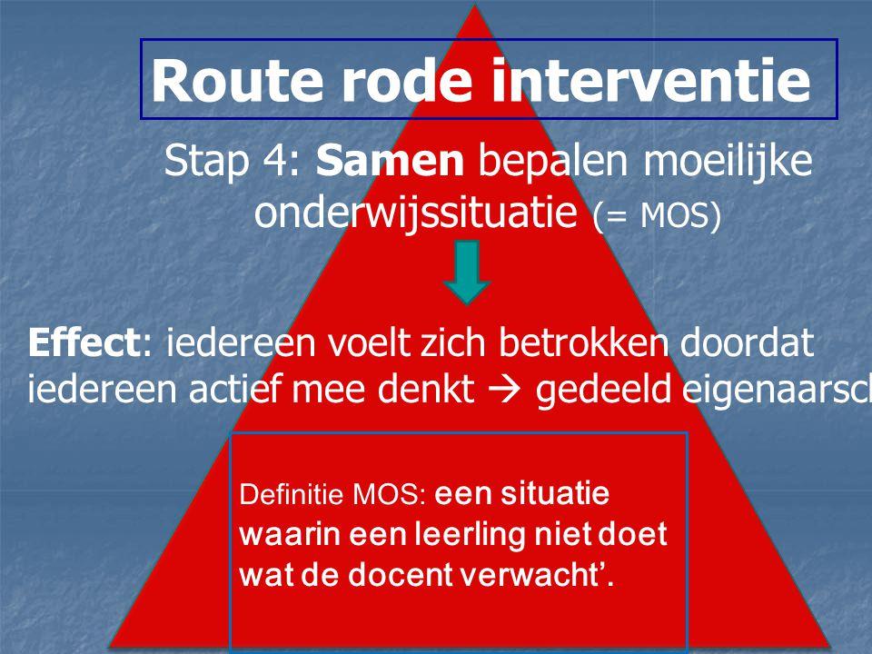 Route rode interventie Stap 4: Samen bepalen moeilijke onderwijssituatie (= MOS) Effect: iedereen voelt zich betrokken doordat iedereen actief mee denkt  gedeeld eigenaarschap.