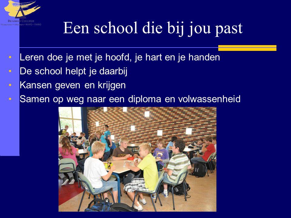 Een school die bij jou past Leren doe je met je hoofd, je hart en je handen De school helpt je daarbij Kansen geven en krijgen Samen op weg naar een diploma en volwassenheid