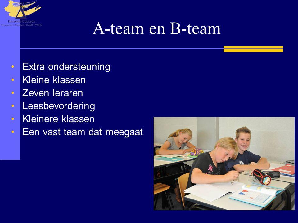 A-team en B-team Extra ondersteuning Kleine klassen Zeven leraren Leesbevordering Kleinere klassen Een vast team dat meegaat