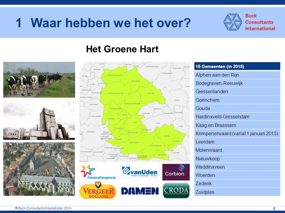 1Waar hebben we het over?  Buck Consultants International, 2014 2 15 Gemeenten (in 2015) Alphen aan den Rijn Bodegraven-Reeuwijk Giessenlanden Gorinc