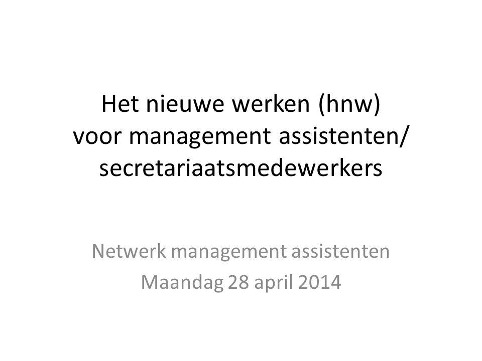 Het nieuwe werken (hnw) voor management assistenten/ secretariaatsmedewerkers Netwerk management assistenten Maandag 28 april 2014