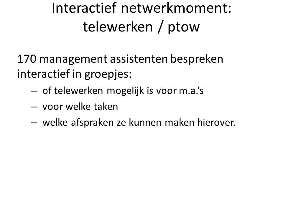 Interactief netwerkmoment: telewerken / ptow 170 management assistenten bespreken interactief in groepjes: – of telewerken mogelijk is voor m.a.'s – v