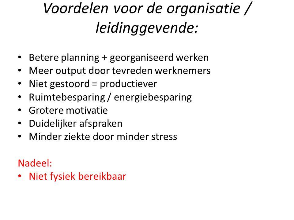 Voordelen voor de organisatie / leidinggevende: Betere planning + georganiseerd werken Meer output door tevreden werknemers Niet gestoord = productiev