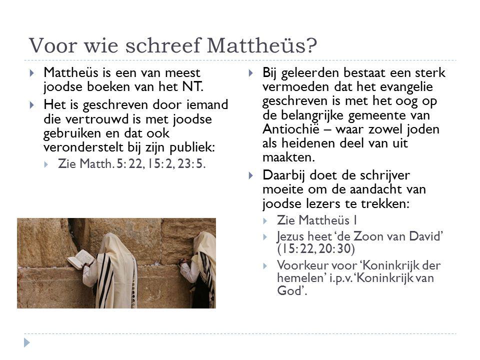  Mattheüs vraagt veel aandacht voor het vervullingsaspect:  Matth: 1: 22-23;  Matth: 2: 15; 17-18, 23  Matth: 8: 17;  Matth: 12: 17-19;  Matth: 13: 35;  Matth: 21: 4-5;  Matth: 27: 9-10